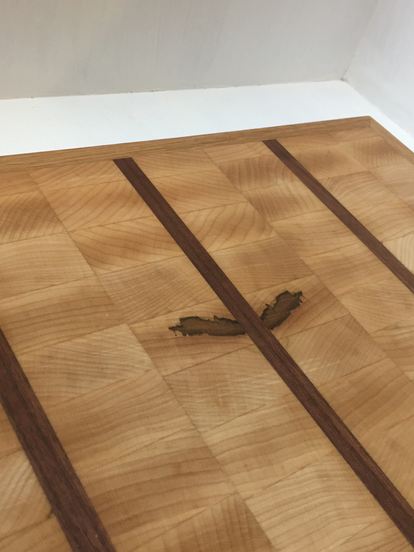 Maple cutting board with walnut dividers