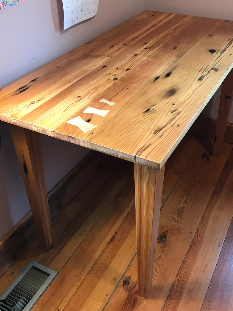 Heart Pine Table from reclaimed floorboards