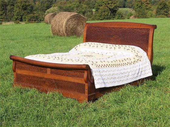 French Walnut Sleigh Bed