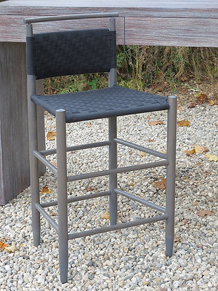 Shawl Rail Woven Back Stool