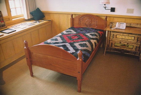 Shaker Bed with Carved Headboard