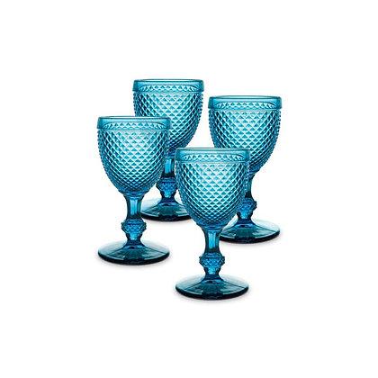 Set of 4 Bicos Goblet Glasses - Blue