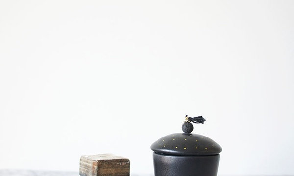 SUGAR CUP W/SPOON (black)