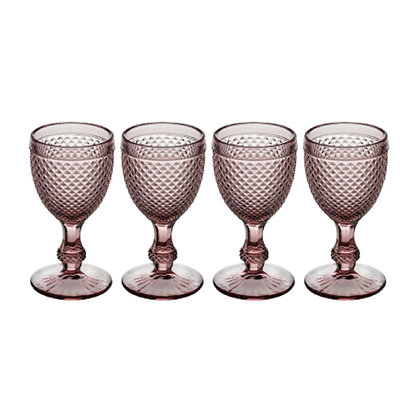 Set of 4 Bicos Goblet Glasses - Pink
