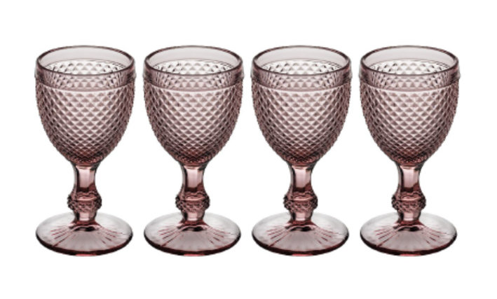 Set of 4 Bicos Goblet Glasses - Pink