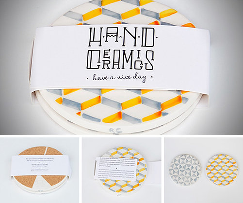 COASTERS - Set of 2 (yellow grey b)