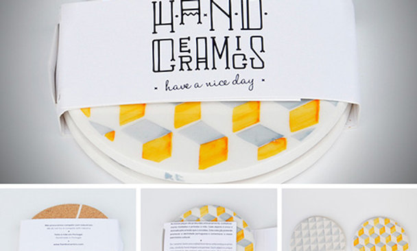 COASTERS - Set of 2 (yellow grey a)