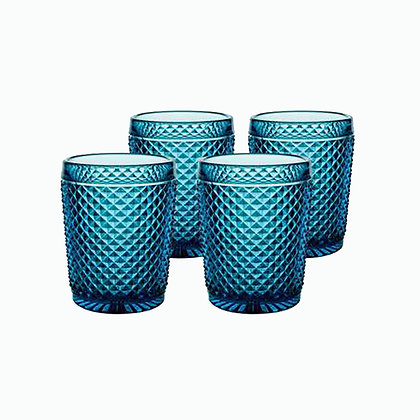 Set of 4 Bicos Old Fashion Glasses - Blue