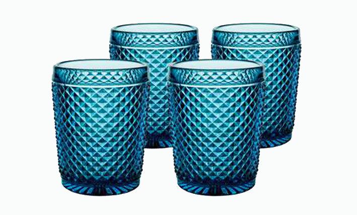 Set of 4 Bicos Old Fashion Glasses - Blue