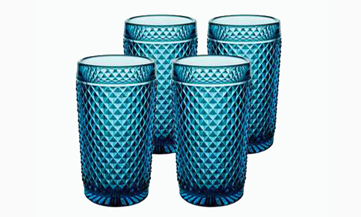 Set of 4 Bicos Highballs Glasses - Blue