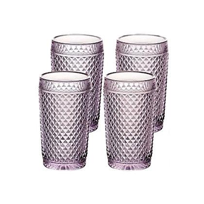 Set of 4 Bicos Highballs Glasses - Pink