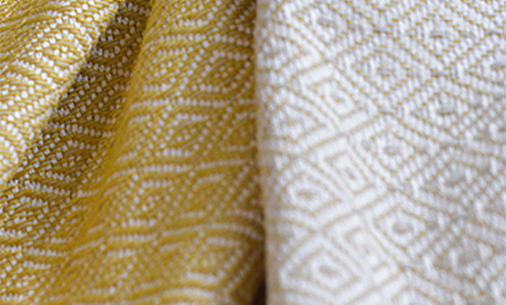 YELLOW AND GREY DIAMOND - Double Sided Cotton Throw