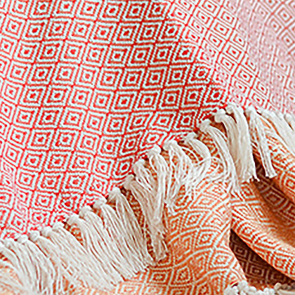 RED AND ORANGE DIAMOND - Double Sided Cotton Throw