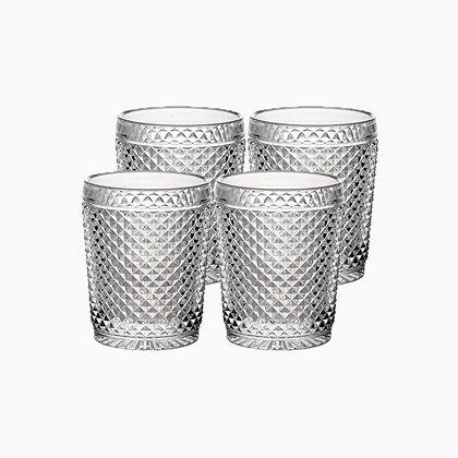 Set of 4 Bicos Old Fashion Glasses - Transparent