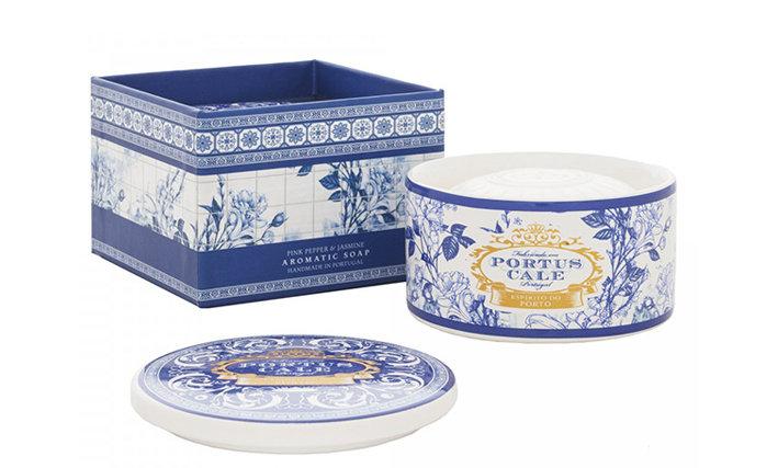 GOLD & BLUE - 150g Soap in a Ceramic soap dish