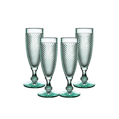 Set of 4 Bicos Flute Glasses - Green