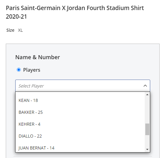 Screenshot of the PSG Store showing the customisation options available for a shirt, including Kean, Bakker, Kehrer, Diallo and Juan Bernat