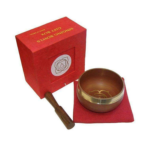 "RED Singing Bowl Gift Set (3"") A Lovely Smooth Tone"