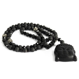 Black Agate Buddha Necklace