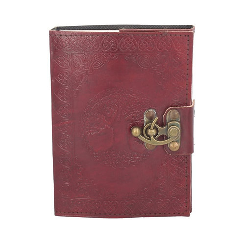 Lockable Tree Of Life Red Leather Journal 13 x 18cm