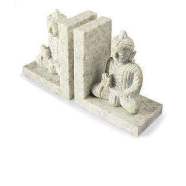 Pair Of Hand Carved Soapstone Buddha Bookends