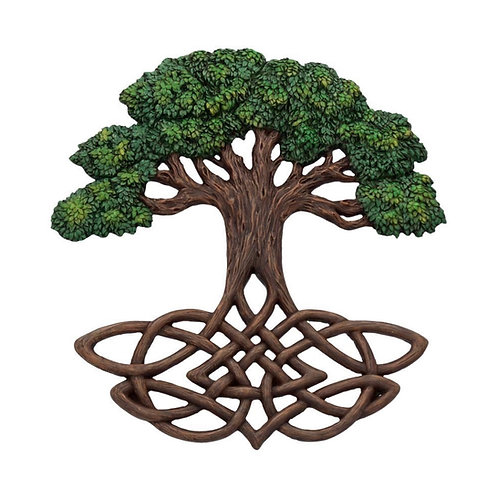 Hand Painted Tree of Life Celtic Wall Plaque 33cm