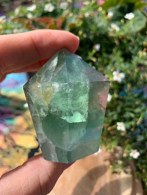 Green Fluorite polished Tower