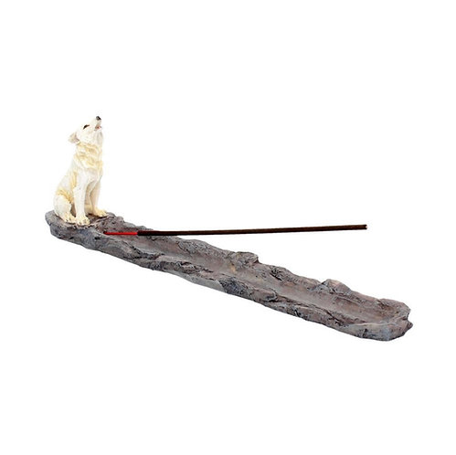Wolf Call Howling White Wolf Incense Holder 27.8cm