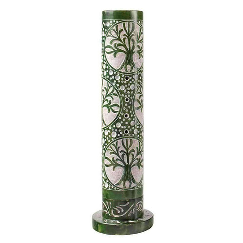 """Hand Carved Soapstone Incense Tower """"Tree Of Life"""" Design"""