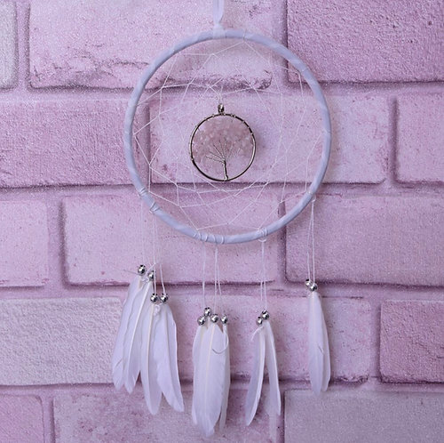 Dream Tree Of Life White Dreamcatcher With White Feathers 16cm