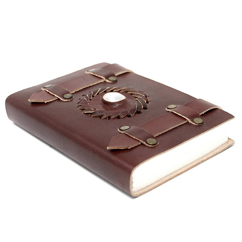 """Leather Moonstone with Belts Notebook (6x4"""")"""