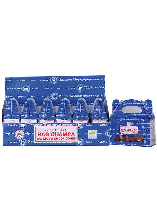 Satya Nag Champa Backflow Incense Cones Original Series - Box of 6