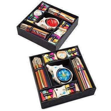 Gift Box Starter Pack Of Incense Sticks, Cones, Candle & Holders