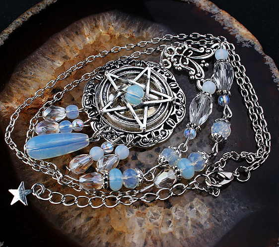 Gothic Pentagram Necklace  Crystal Beads