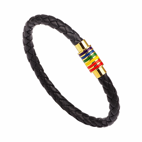 Rainbow Braided Leather Bracelet With Magnetic Metal Clasp (23cm)