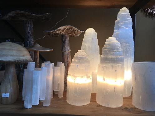 Selenite Mountain Lamps