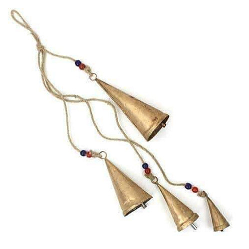 Rustic Conical Bells On Rope: Handmade, Fairtrade 75cm