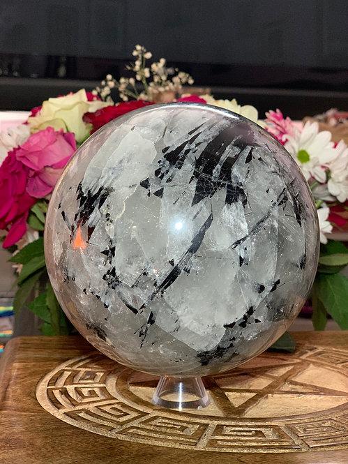 Tourmalinated Quartz Sphere