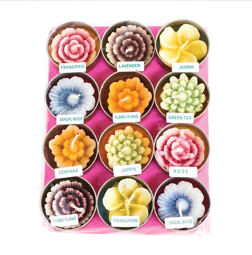 Pack of 12 Multicoloured Flower Shaped Tea Lights