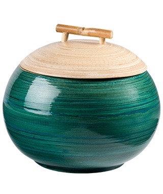 Lacquered Spun Bamboo Round Pot