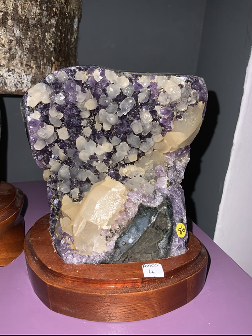 Amethyst Druze with Calcite on a Wooden Stand