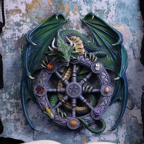Anne Stokes Year of the Magical Dragon Pagan Wheel of the Year Wall Plaque
