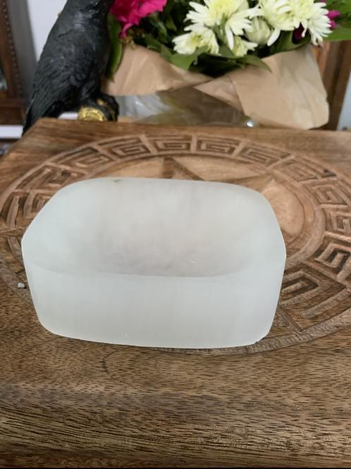 Selenite Carved Oblong Charging Dish