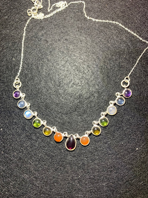 Seven Chakra Sterling Silver Necklace