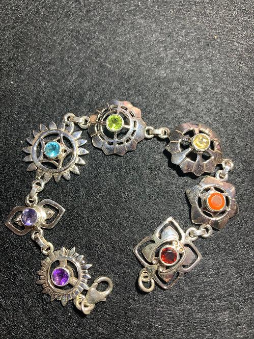 Seven Chakra Sterling Silver Rieki Bracelet