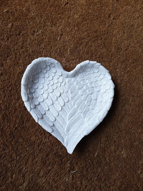 Glitter Heart Angel Wing Trinket Dish