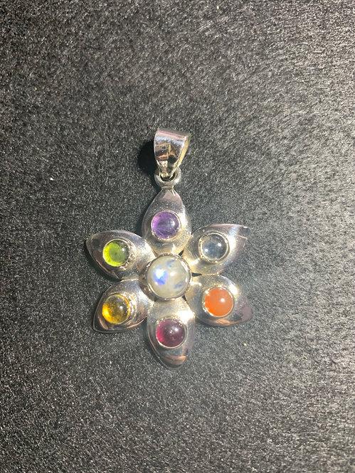 Seven Chakra Sterling Silver Pendant