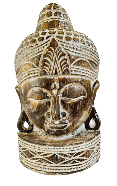 Carved Wood Buddha Head Antique Style