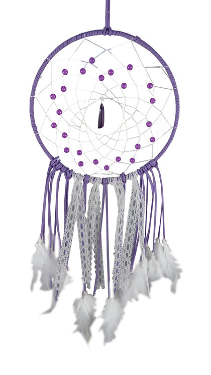 Purple Purity Dreamcatcher with Crystal & White Feathers 20cm