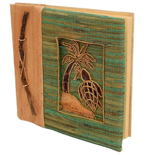 Handmade Notebook with 	Inlaid Turtle Design